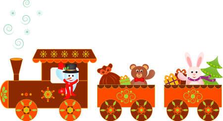 Snowman Christas Presents Train Vector