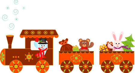 Snowman Christas Presents Train Vector