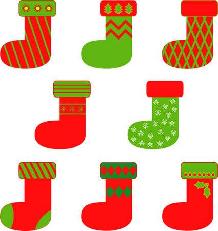 절연 빨강 및 녹색 크리스마스 스타킹 벡터, Chrismas 장식