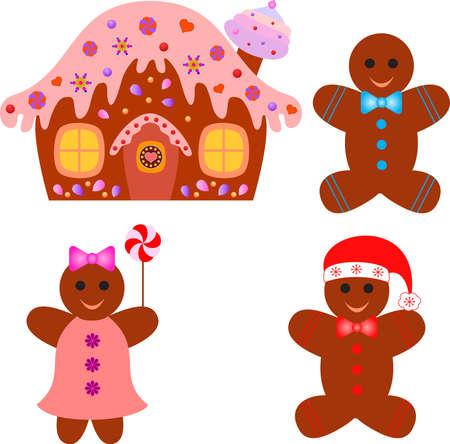 gingerbread man: Gingerbread House, Gingerbread Man and Gingerbread Woman Vectors