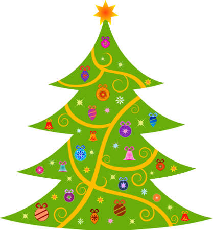 Isolated Decorated Green Christmas Tree with Ormanents Vectors Иллюстрация