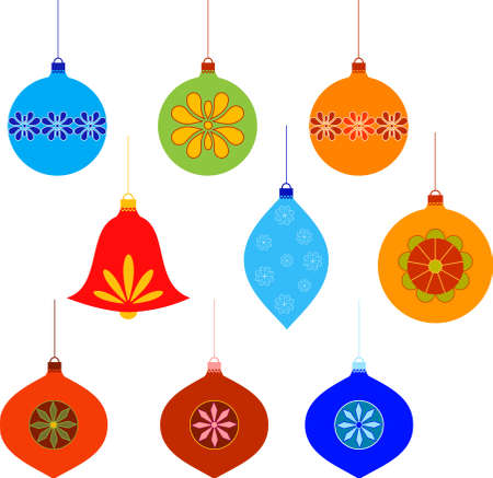 Isolated Christmas Tree Ornaments Vectors 向量圖像