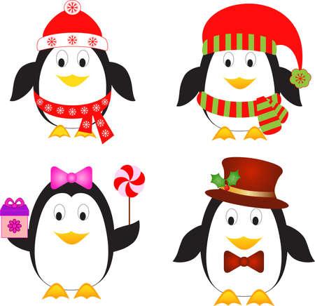 pinguinos navidenos: Aislado Ping�ino Vectores, P�jaro Vectores, Ping�inos de Navidad