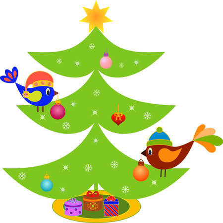 decorated christmas tree: Isolated Decorated Christmas Tree with Ornaments and Birds