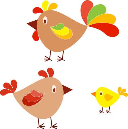 Isolated Birds Vectors, Chicken, Hen, Chick, Roostre Vector Illusztráció