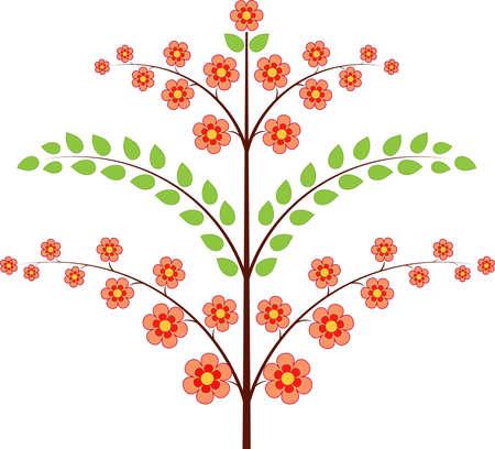 ピンク花春グリーン ツリーで、ツリーのベクトル  イラスト・ベクター素材