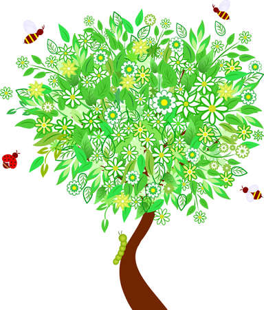 White Flowers Spring Tree Vector Illusztráció