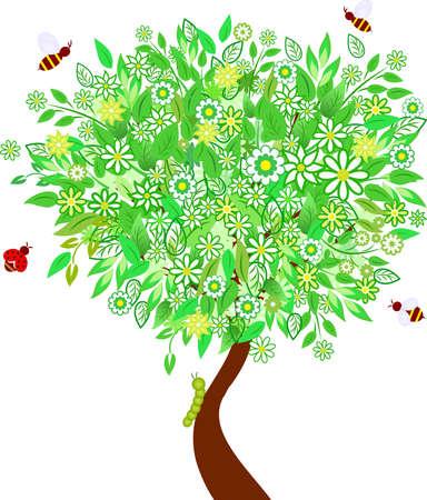 White Flowers Spring Tree Vector Ilustrace