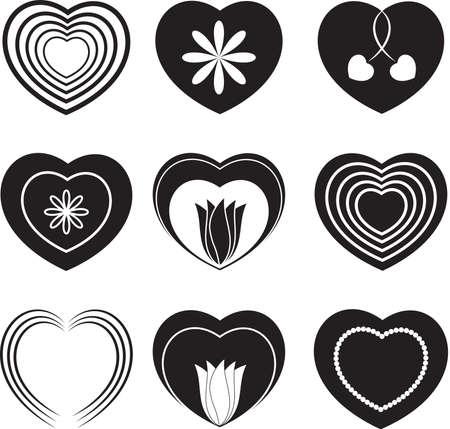 黒と白の心と花、バレンタイン  イラスト・ベクター素材
