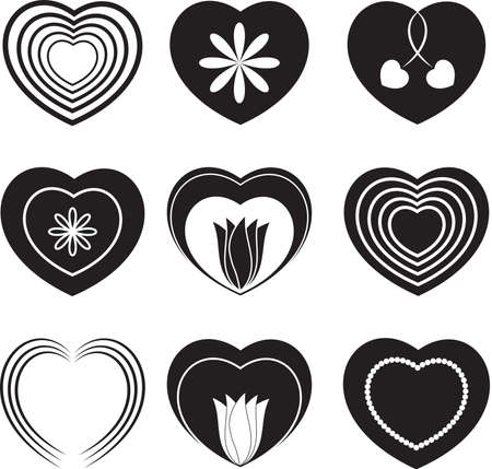 Black and White Hearts and Flowers, Valentines Иллюстрация