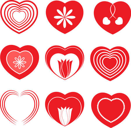 Isolated Red and White Hearts and Flowers Vectors, Valentines Hearts Vector