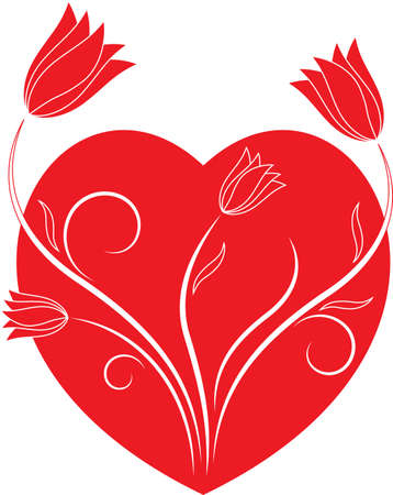 isolated on red: Isolated Red Heart and Red Tulips Vectors Illustration