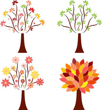 Isolated Seasonal Tree Vectors 向量圖像