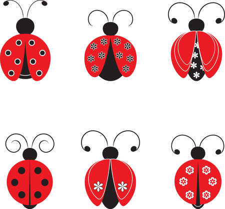 Isolated Ladybugs Vectors, Insect Illustrations 向量圖像