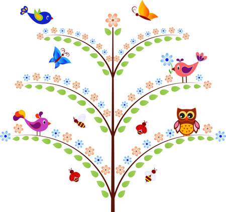 Isolated Flower Tree with Birds, Insects, Flowers and Owl Vectors