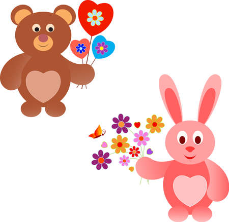 Isolated Pink Bunny and Brown Teddy Bear Vectors, Valentine Animals