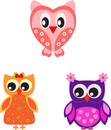 Isolated Owl Vectors, Valentine Owls