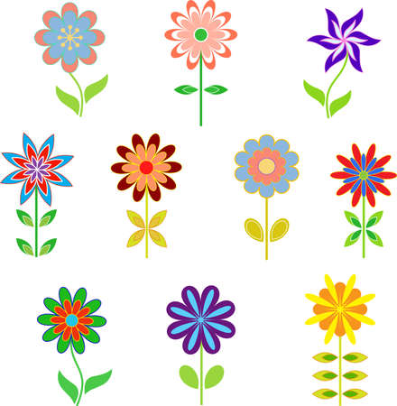 Isolated Spring Flowers Vectors Vector