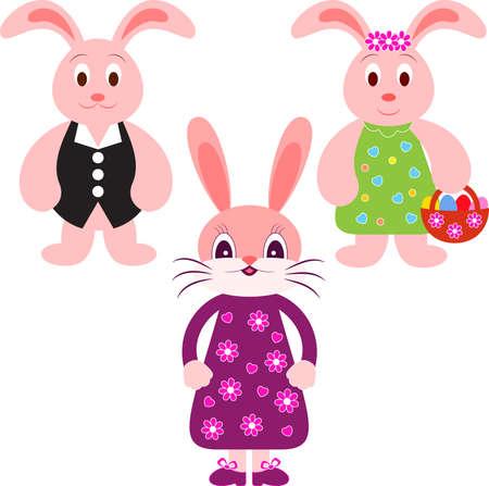 Geïsoleerde Bunny Vectoren, Oost Bunnies Illustraties Stock Illustratie