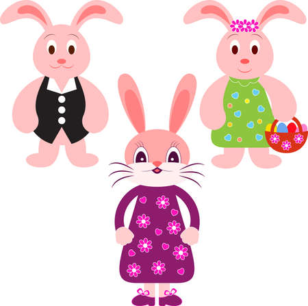 Isolated Bunny Vectors, Eastern Bunnies Illustrations