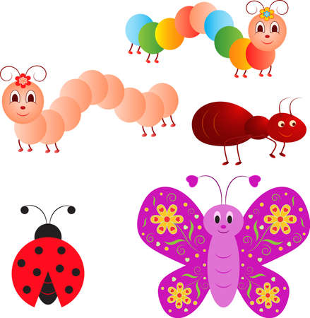 Isolated Insect Vectors, Ladybug, Caterpillar, Ant, Butterfly Vector