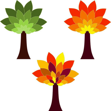 Isolated Tree Vectors, Season Tree Illustrations