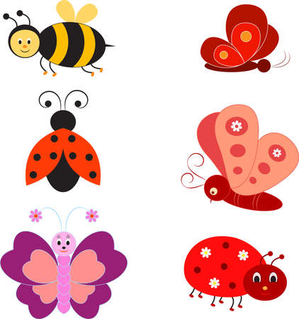 Isolated Insects Vectors, Bee, Ladybugs, Butterflies
