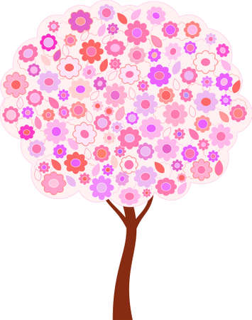 Isolated Spring Flower Tree Vector, Flower Tree Vector Illustration