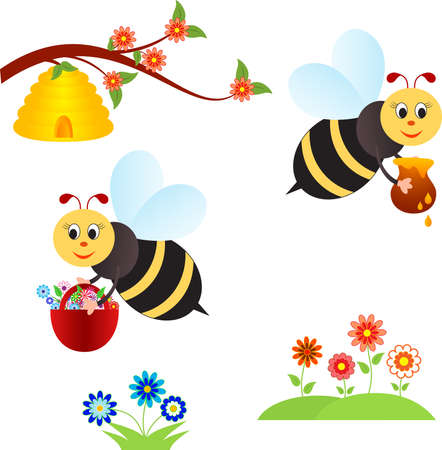 Isolated Insects and Flowers Vectors, Spring Flowers Vectors Illustration