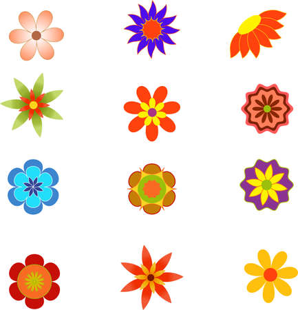 Isolated Spring Blooming Flower Vectors, Flower Illustrations