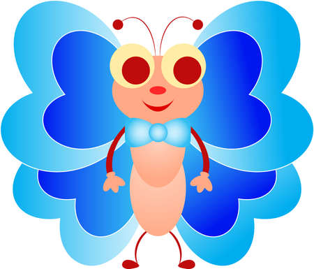 Isolated Blue Boy Butterfly Cartoon Vector, Butterly Vector