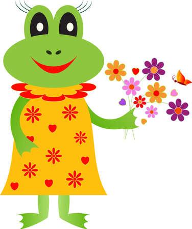 Isolated Frog Girl Cartoon Vector, Animal Vector Illusztráció