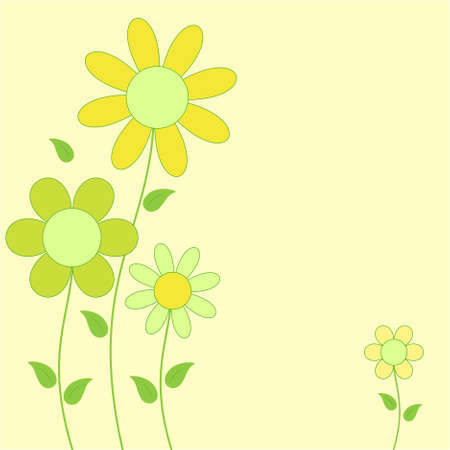 Flower Card, Yellow and Green Flowes Vectors