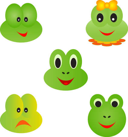 Isolated Frog Faces on White Background, Frog Vectors