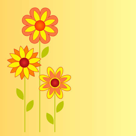 Yellow and Orange Flower Vectors on Yellow Background, Flower Card