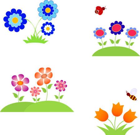 Flower Vectors, Insect Vectors Illusztráció
