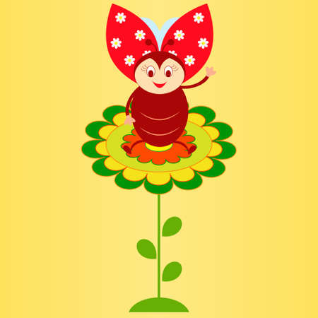 Flower Vector on Yellow Background, Insect Vector, Flower Card