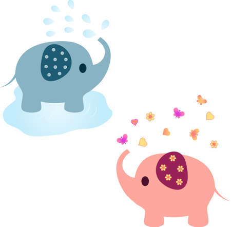 Elephant Vectors Pink Elephant Blue Elephant Animal Vectors Vector