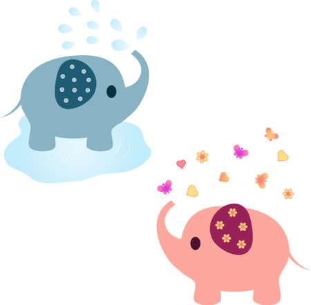 Elephant Vectors Pink Elephant Blue Elephant Animal Vectors