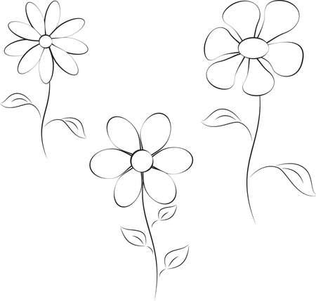 Flower Vectors Black and White Flowers Иллюстрация