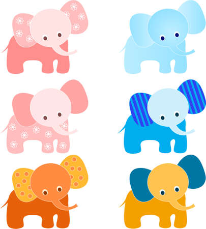 Isolated Elephant Vectors