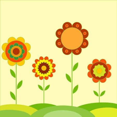 背景が黄色の花ベクトル花カード  イラスト・ベクター素材