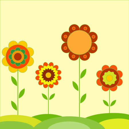 Flower Vectors Flower Card on Yellow Background 向量圖像