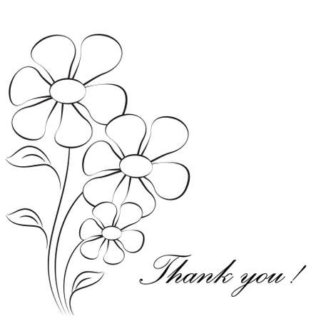 Flower Vectors on White Background Flower Card Thank You Card 向量圖像