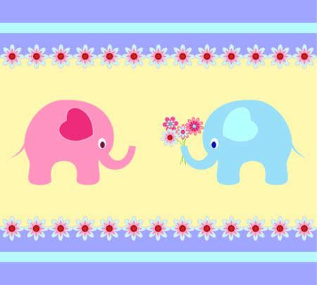 Elephant Vectors Elephant Card Illusztráció