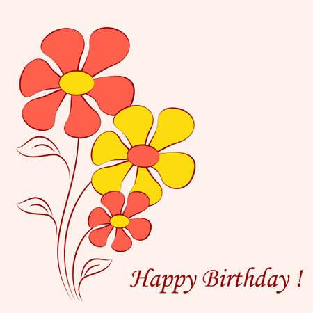 Flower Vectors on Pink Background, Flower Card, Birthday Card