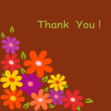 Flower Vectors on Brown Background, Flower Card, Thank You Card