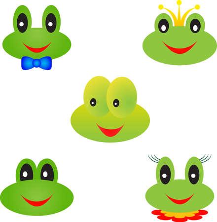 grenouille: Vecteurs Frog, grenouille Faces, Frog dessins animés Illustration