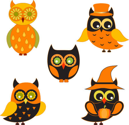 Isolated Black and Orange Owls Vectors