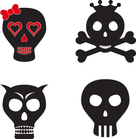 Isolated Black, Red and White Skulls